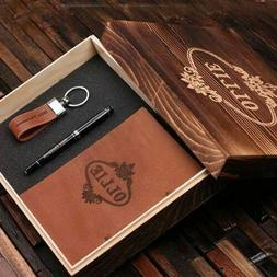 Personalized 4pc Men Gift Set w/ Leather Journal, Keyring, P