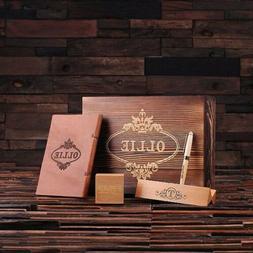 Personalized 4pc Mens Gift Set w/ Keepsake Box, Clock, Pen S