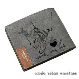 Personalized Bifold Photo Wallet Custom Men PU Wallet Annive