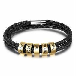 Personalized Black Braided Rope Mens Leather Custom Bracelet