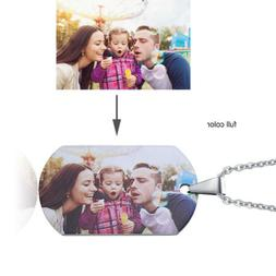 Personalized Color Picture Photo Initial Women Men Necklace