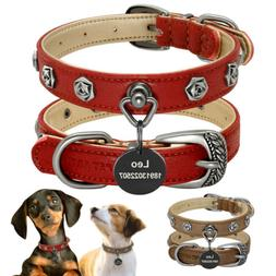 Personalized Dog Leather Collar Heavy Duty Studded Pet ID Na