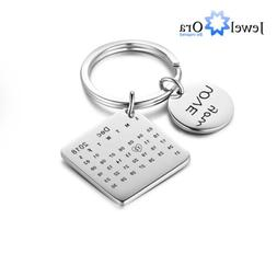 Personalized Engraved Date Calendar Name Keychain Anniversar
