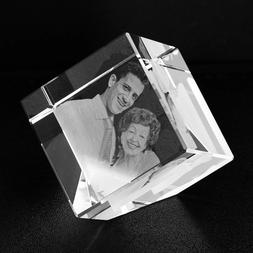 Personalized Etched Crystal Lamp 3D Photo Keepsake Photo Wed
