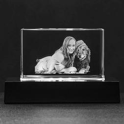 Personalized Etched Crystal Lamp 3D Photo Keepsake Picture H