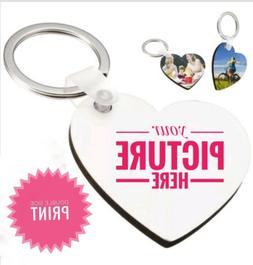 Personalized Heart Shaped Key Tag  Key chain with Custom Ima