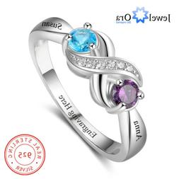 Personalized Infinity Women Ring Custom Name 925 Sterling Si