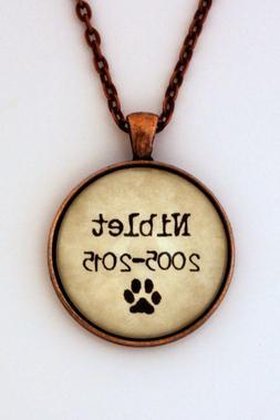 Personalized Memorial Pet Name & Date Dog Cat Pendant Neckla
