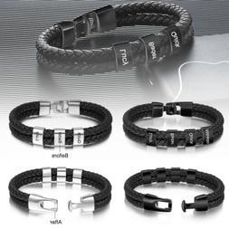 Personalized Men Leather Bracelet Engrave Names Charm Braide