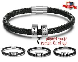Personalized Mens Bracelet Black Leather Fathers Day Gift En
