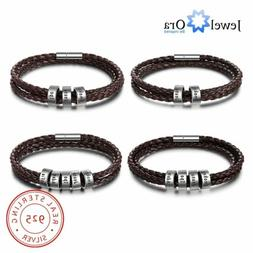 Personalized Mens Bracelet Leather Wristband Free Engraving