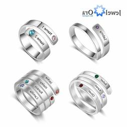 Personalized Mothers Ring Women Jewelry Free Engrave Names B