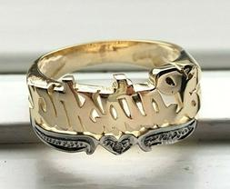 Personalized Name Ring Rounded Face in 10K Real Gold with An