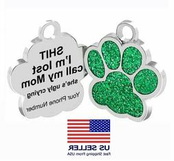 Personalized Pet Dog Sparkly Paw Tags ID Engraved Name Custo