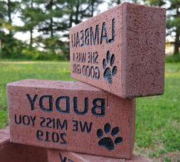 Personalized PET MEMORIAL STONE Engraved Custom Dog Cat Paw