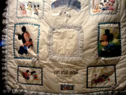 Personalized Photo Baby Blanket For A boy White with blue la