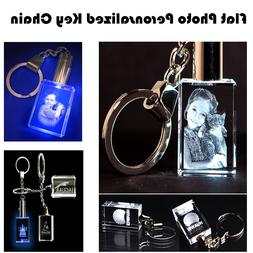 Personalized Photo Engraved  Rectangle Crystal Key Chain Wed