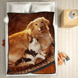 Personalized Photo Fleece Blanket Custom Picture Collage Thr