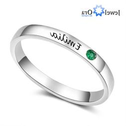 Personalized Women Ring Custom Birthstone Engraved Name 925
