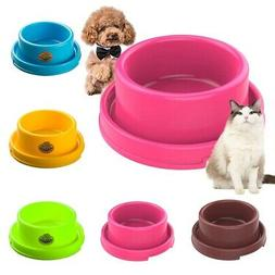 Pet Cat Dog Bowl Anti-slip Plastic Food Water Feeder Bowl Pu