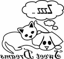 pet cat dog sleep cartoon kids vinyl