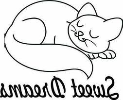 pet cat kitty sleep cartoon kids vinyl