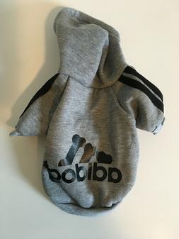 Adidog Pet Clothes for Dog Puppy Hoodies Sweatshirt Gray Siz