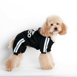 PET CLOTHES JUMPER 4 LEGS ADIDOG BLACK AND WHITE LARGE