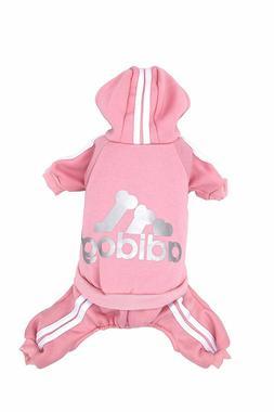 Adidog Pet Clothes XXL Dog Puppy Pink Hoodie Coat Sweatshirt