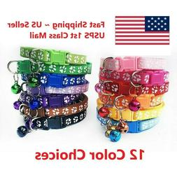 Pet Collars Small Dog Puppy Cat Adjustable Paw Printed Neckl