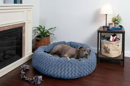 FurHaven Pet Deep Dish Curly Faux Fur Donut Dog Bed Cuddler
