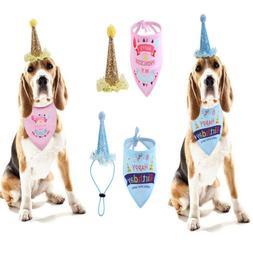 Pet Dog Birthday Party Hat Headwear + Bandana Neck Scarf Tie