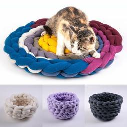 Pet Dog Cat Hand-Woven Nest Handmade Knit Sleeping Bed Puppy