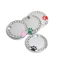 Pet Dog Cat ID Blank Tags Cute Paw Style Add Name Phone Dog
