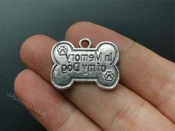 "PET DOG MEMORY MEMORIAL PAW BONE charm 20"" Sterling Silver 9"