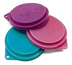 Pet Food Can Covers Set of 3 Assorted Colors 3-1/2 inches Do