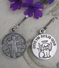 Pet Medal Tag Charm St. Francis God Bless My Dog with Halo 7