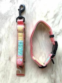 Pet Nylon Adjustable 17-26 inches Dog Collar and Leash Set S