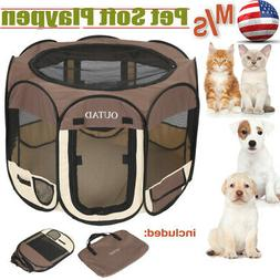 Pet Portable Play Pen Exercise Kennel Tent Dog Soft Playpen