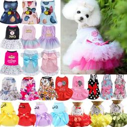 Pet Sling Dress Dog Cat Puppy Spring Summer Bowknot Princess