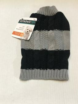 Pet Sweater - XS Fits most under 12lbs - Black/Grey