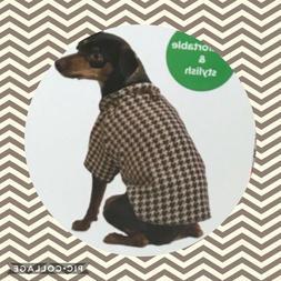 Martha Stewart Pets Dog Sweater Houndstooth Brown Fleece Pul