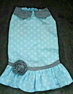 Martha Stewart Pets Dress Turquoise Print Gray Collar Flower