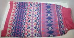 Blueberry Pet Pink & Purple Diamond Pattern Pullover Dog Swe
