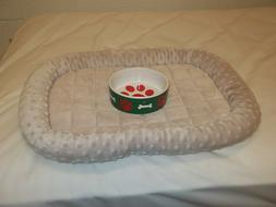 "Plush Cozy Pet Dog Pet Bed - Tan - Small Medium 23"" X 17""  &"