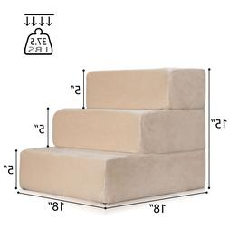 Pet Stairs 3 Steps Soft Portable Cat Dog Step Ramp Small Cli