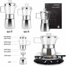Premium Crystal Glass Top Stovetop Espresso Moka Pot 9 Cup C