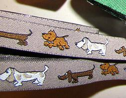 PRICED BY THE YARD Puppy Dog Dogs Pet Brown Woven Jacquard R