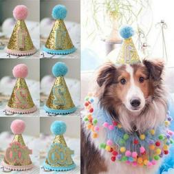 Puppy Birthday Hat Dog Headwear 1st 2nd Pet Sequins Accessor