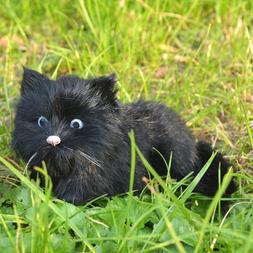 Realistic Black Cat Figurine Kitty Replica Toy Furry Animal